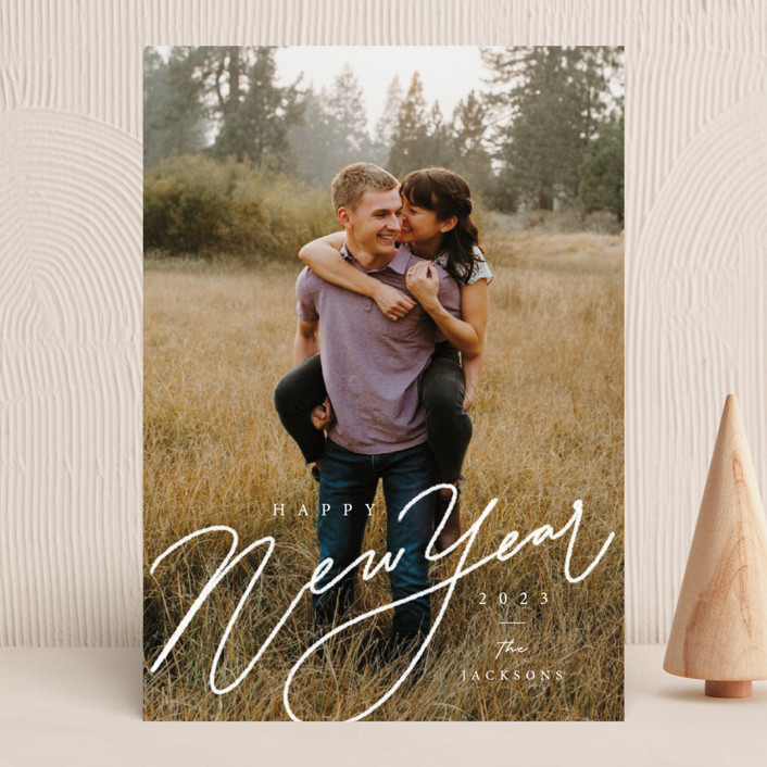 """""""Chalk Lettering"""" - New Year Photo Cards in Snow by Adelyn T.."""