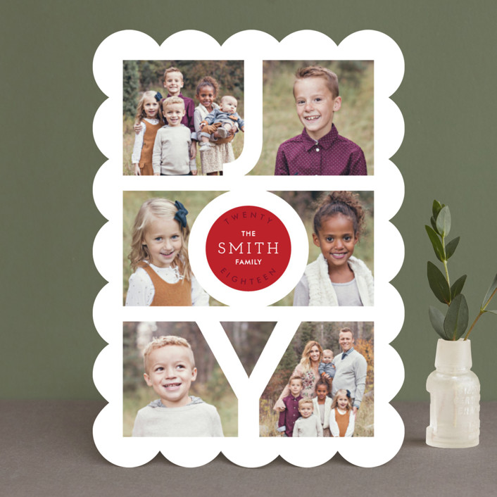"""Modern Family Joy"" - New Year Photo Cards in Ruby by Playground Prints."