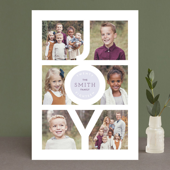 """Modern Family Joy"" - New Year Photo Cards in Cement by Playground Prints."