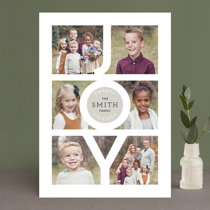 """""""Modern Family Joy"""" - New Year Photo Cards in Cement by Playground Prints."""