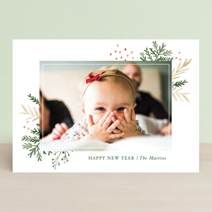 """""""Wintertide"""" - New Year Photo Cards in Berry Red by Oscar & Emma."""