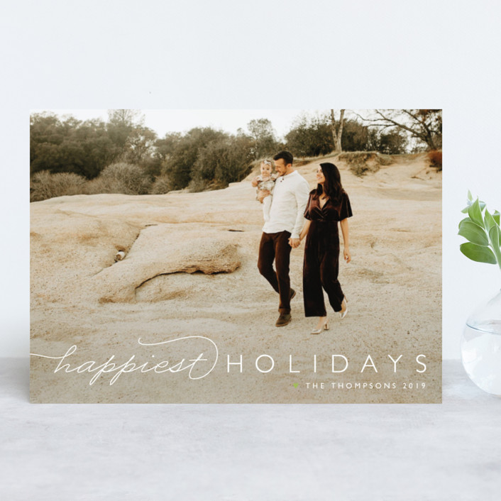 """""""Happiest Of All"""" - New Year Photo Cards in Snowfall by Carolyn MacLaren."""