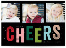 This is a black new year photo card by Creo Study called ThreeCheers with standard printing on smooth signature in standard.