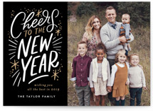 This is a black new year photo card by Alethea and Ruth called Cheers to the new year lettering with standard printing on smooth signature in standard.