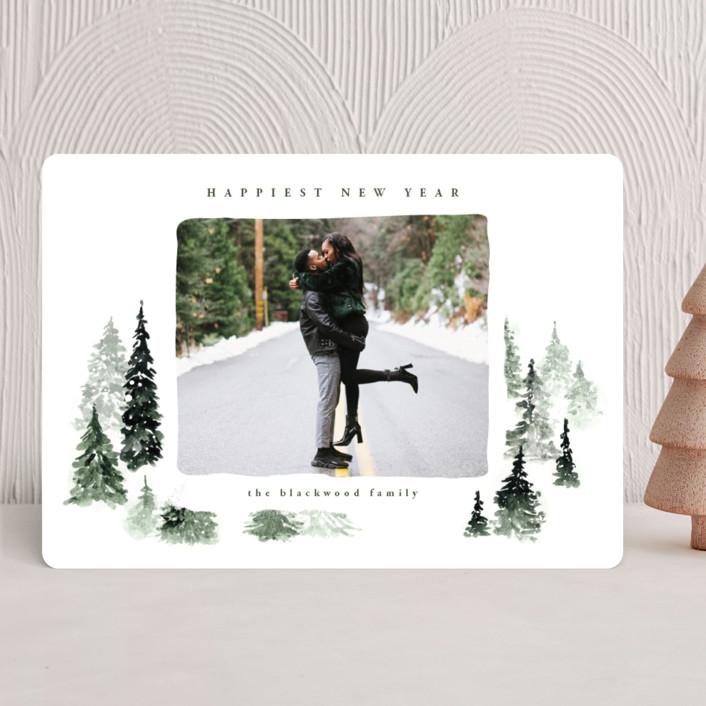 """fall of snow"" - Bohemian New Year Photo Cards in Evergreen by Anastasia Makarova."