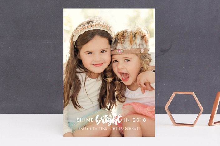 """""""Shine Bright"""" - New Year Photo Cards in Snow by Shirley Lin Schneider."""