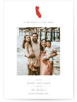 This is a red new year photo card by Nazia Hyder called New Place to call home with standard printing on smooth signature in standard.