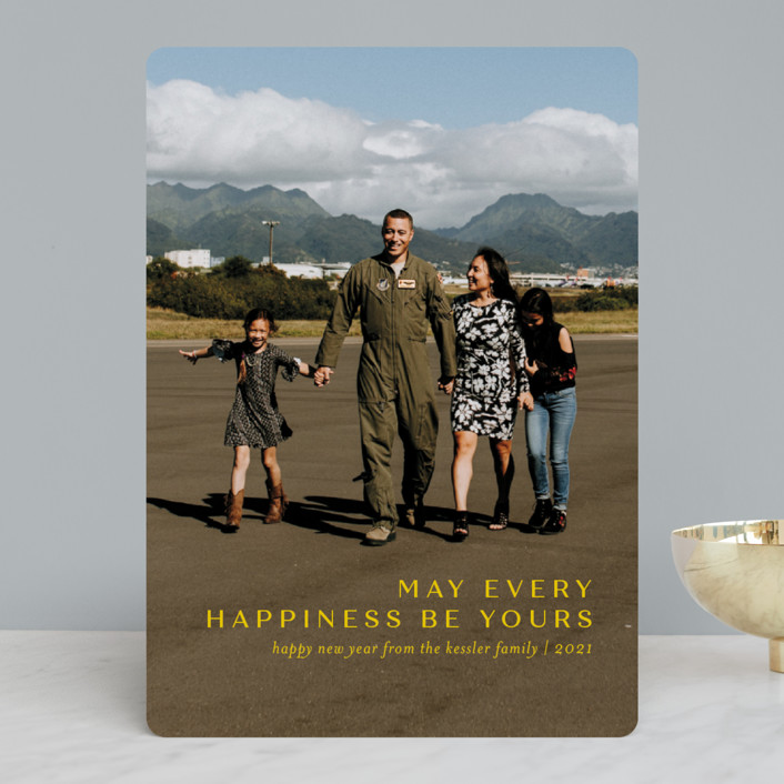 """""""Every Happiness"""" - New Year Photo Cards in Canary by Jessica Williams."""