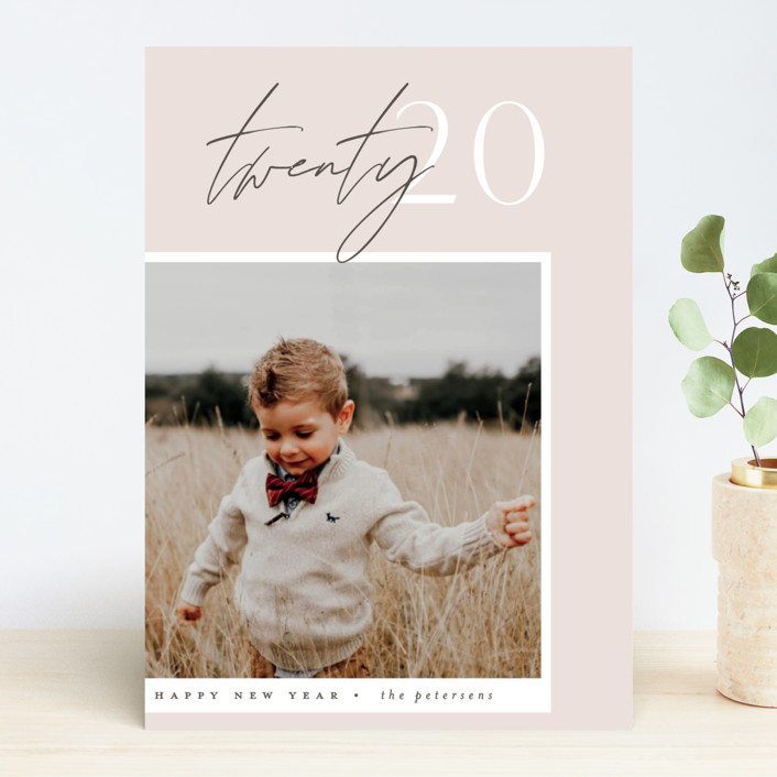 """Contrast"" - New Year Photo Cards in Blush by Everett Paper Goods."