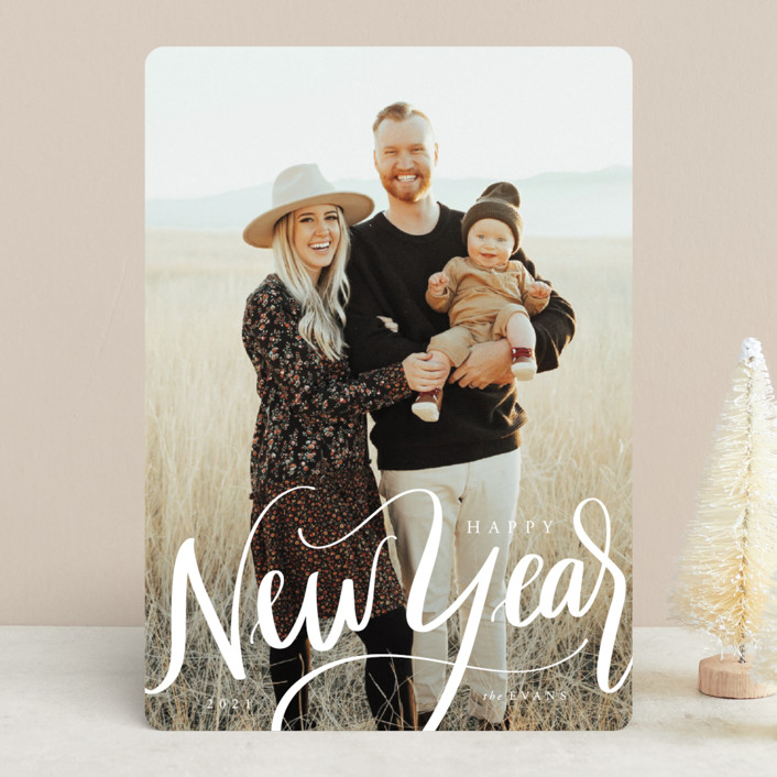 """""""Scripted New Year"""" - New Year Photo Cards in Ivory by Cindy Reynolds."""