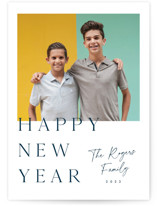 This is a blue new year photo card by Stacey Meacham called Fresh and clean with standard printing on smooth signature in standard.
