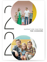 This is a white new year photo card by Ashley Hegarty called Viginti with standard printing on signature in standard.