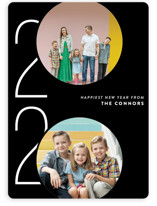 This is a black new year photo card by Ashley Hegarty called Viginti with standard printing on smooth signature in standard.