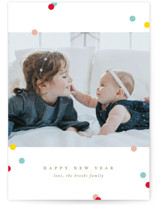 This is a yellow new year photo card by Jennifer Postorino called Sweetly Sprinkled with standard printing on signature in standard.