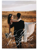 This is a white new year photo card by Ella Weaver called New Year Newlyweds with standard printing on signature in standard.