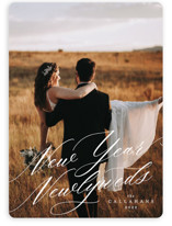 This is a white new year photo card by Ella Weaver called New Year Newlyweds with standard printing on smooth signature in standard.