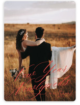 This is a red new year photo card by Ella Weaver called New Year Newlyweds with standard printing on smooth signature in standard.