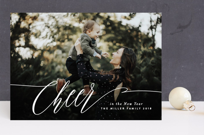 """Elegant Cheer"" - New Year Photo Cards in Snow by Melanie Severin."