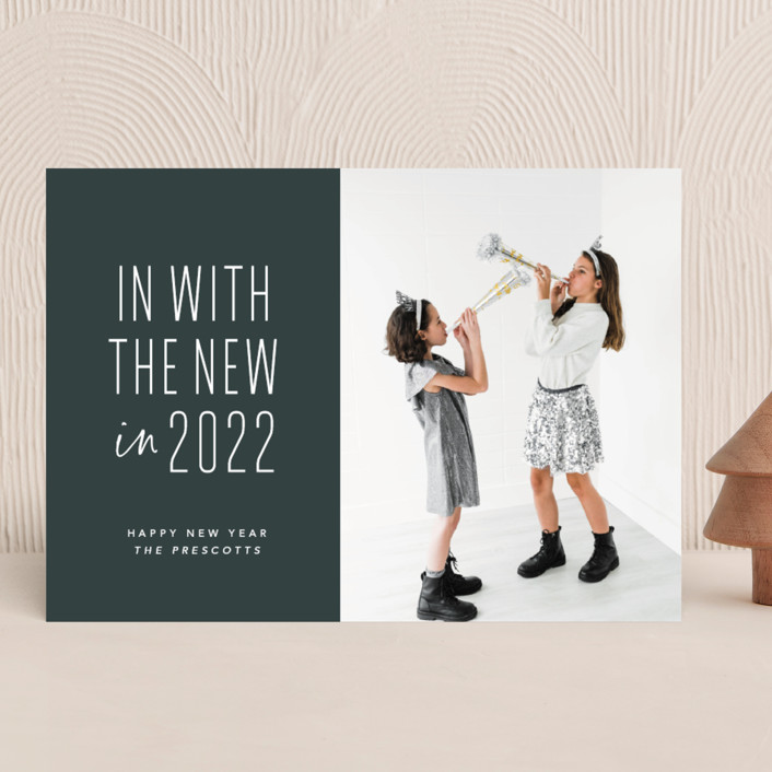 """One and done"" - Funny New Year Photo Cards in Spruce by Lea Delaveris."