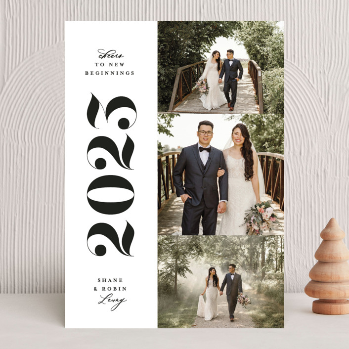 """""""Stacked"""" - New Year Photo Cards in Pearl by Owl and Toad."""
