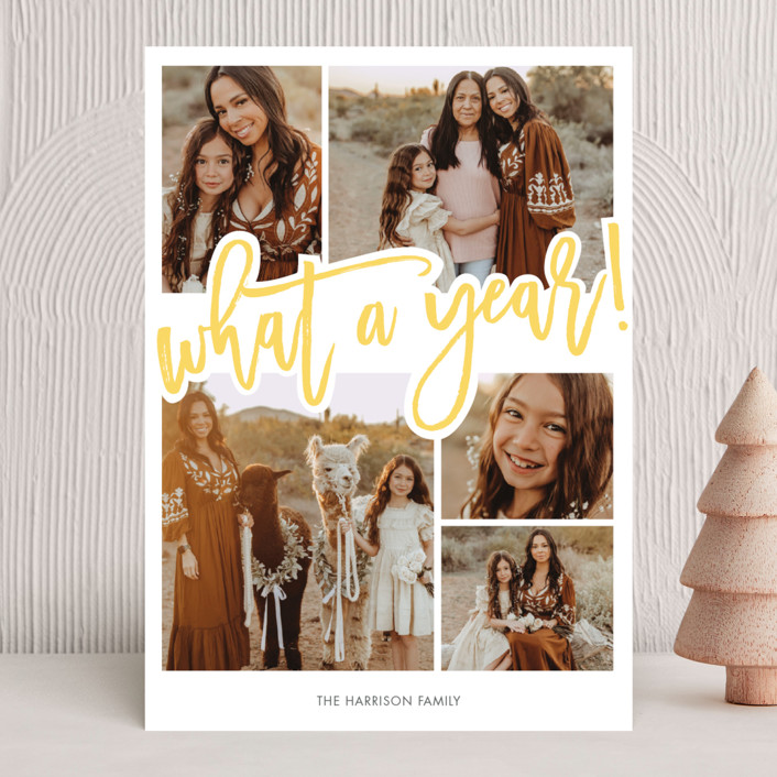 """What A Year!"" - Modern New Year Photo Cards in Lemon by Beth Schneider."
