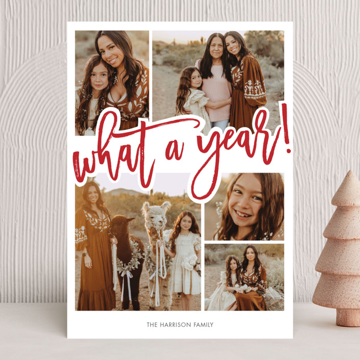 """What A Year!"" - New Year Photo Cards in Cherry by Beth Schneider."