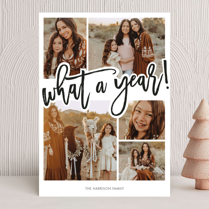 """""""What A Year!"""" - Modern New Year Photo Cards in Ink by Beth Schneider."""