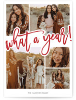 This is a red new year photo card by Beth Schneider called What A Year! with standard printing on smooth signature in standard.