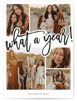 This is a black new year photo card by Beth Schneider called What A Year! with standard printing on smooth signature in standard.
