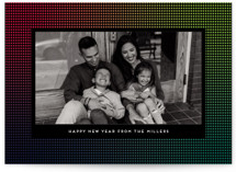 This is a blue new year photo card by Amy Payne called Up In Lights with standard printing on signature in standard.