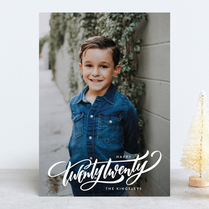 """""""Cross All of the Ts"""" - New Year Photo Cards in Snow by Laura Bolter Design."""