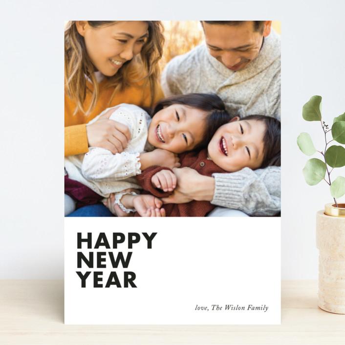 """modern new year"" - Modern New Year Photo Cards in Licorice by Loren Willis."