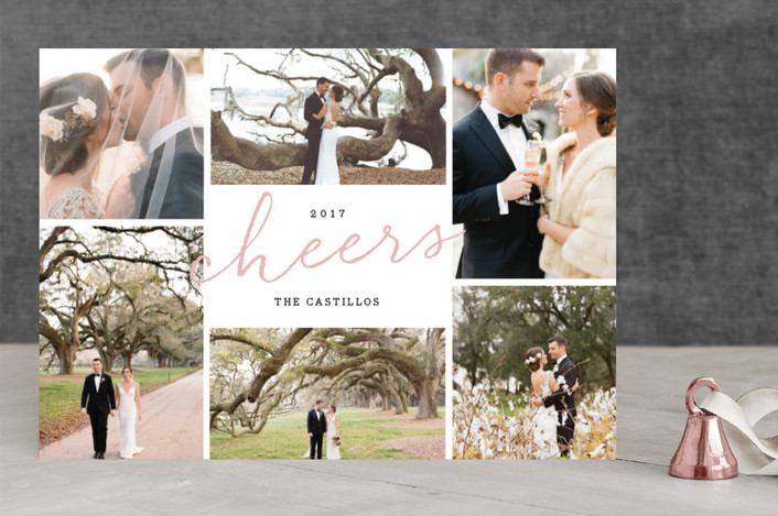 """Quick Cheers"" - New Year Photo Cards in Blush by Anna Elder."