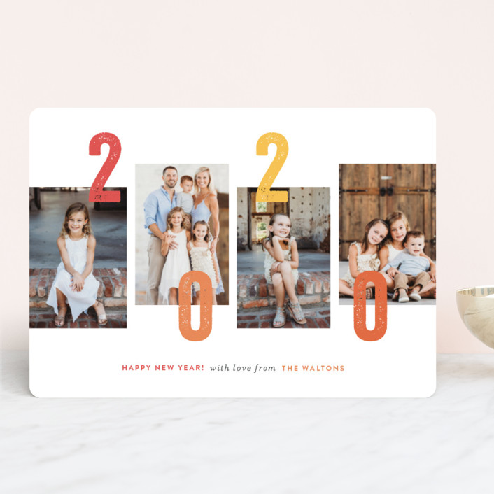 """staggered"" - Modern New Year Photo Cards in Coral by Sara Hicks Malone."