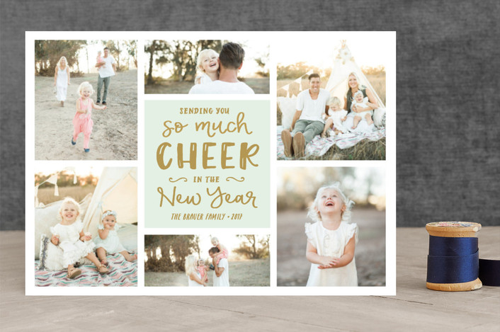 """So Much Cheer"" - New Year Photo Cards in Mint by Erica Krystek."