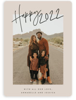 This is a brown new year photo card by JoAnn Jinks called Ease with standard printing on smooth signature in standard.