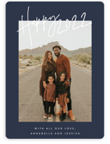 This is a blue new year photo card by JoAnn Jinks called Ease with standard printing on smooth signature in standard.