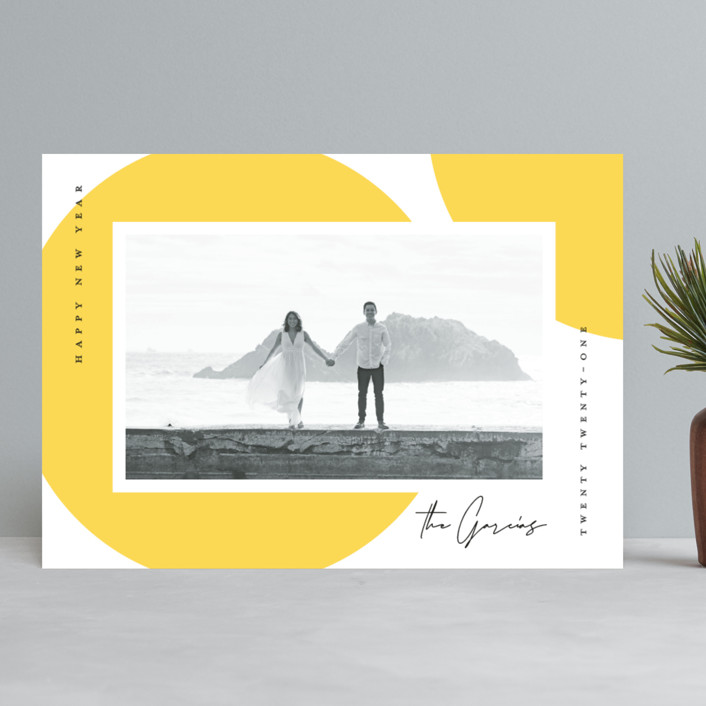 """""""Sunny Year"""" - Modern New Year Photo Cards in Sunshine by Michelle Taylor."""