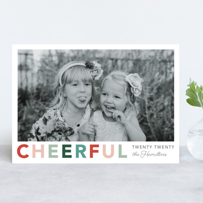 """""""Cheerful"""" - New Year Photo Cards in Jolly by Hudson Meet Rose."""