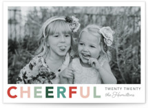 This is a green new year photo card by Hudson Meet Rose called Cheerful with standard printing on signature in standard.