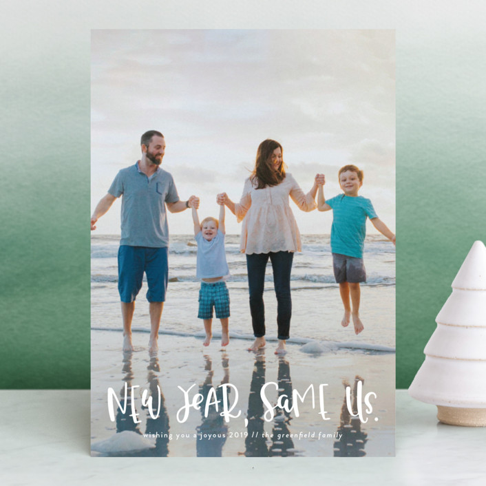 """New Year, Same Us"" - New Year Photo Cards in Frost by Olivia Goree."