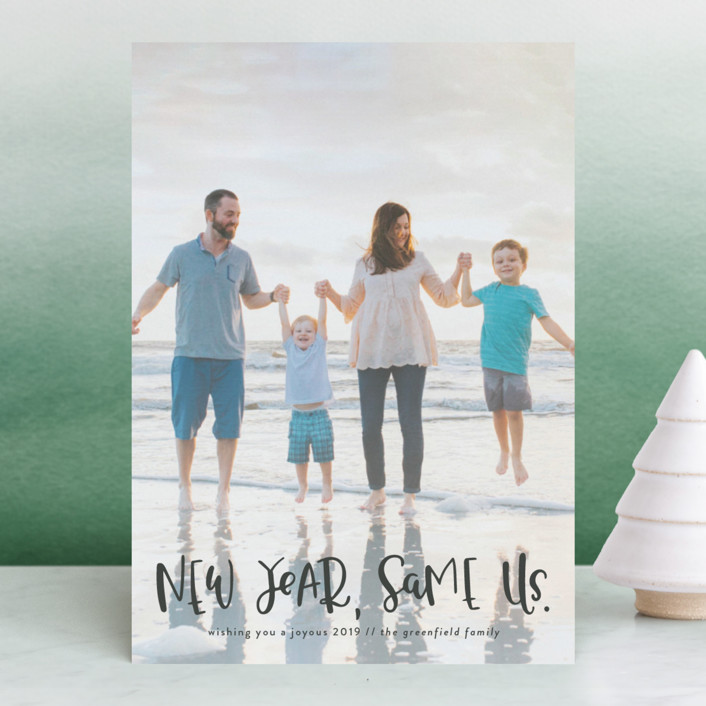 """New Year, Same Us"" - Funny New Year Photo Cards in Midnight by Olivia Goree."