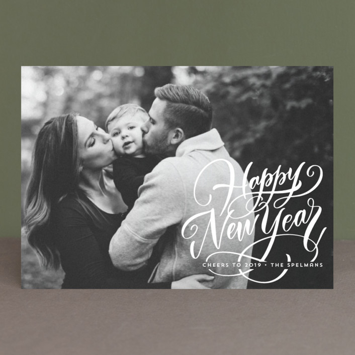 """""""Scripted Year"""" - New Year Photo Cards in Snow by Laura Bolter Design."""