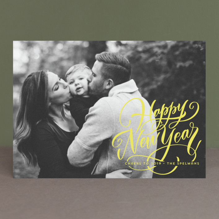 """Scripted Year"" - New Year Photo Cards in Snow by Laura Bolter Design."