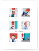 This is a white new year photo card by Dozi called Cheerful Collage with standard printing on signature in standard.