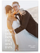This is a white new year photo card by Andrea Castek called New Mr. and Mrs. with standard printing on signature in standard.