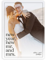 This is a black new year photo card by Andrea Castek called New Mr. and Mrs. with standard printing on smooth signature in standard.