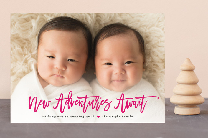 """Adventures Await"" - New Year Photo Cards in Magenta by Jennifer Postorino."