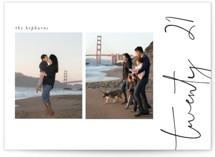 This is a black new year photo card by Morgan Kendall called Side by Side with standard printing on signature in standard.