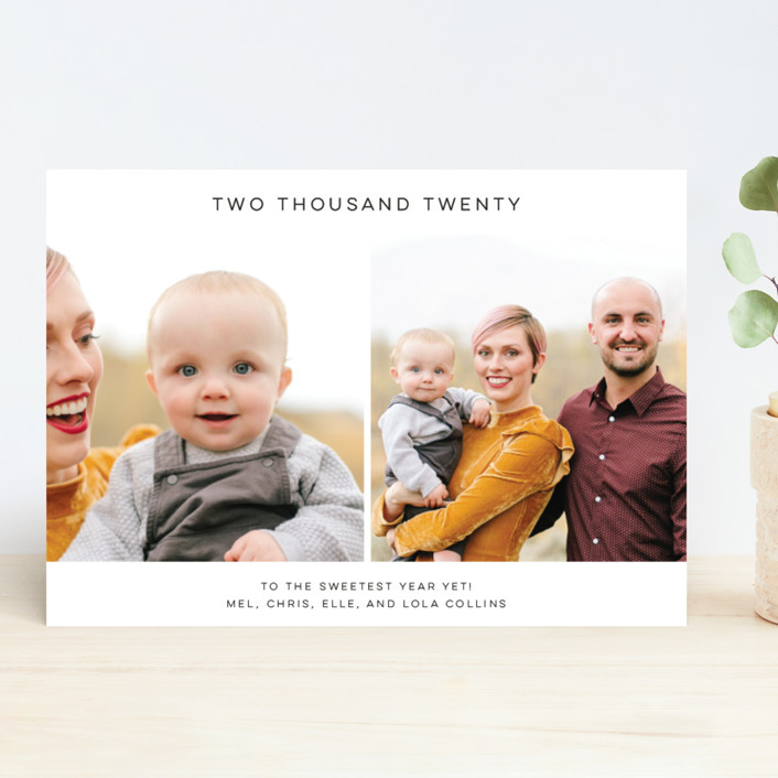 """Minimalist"" - New Year Photo Cards in Midnight by Annie Montgomery."